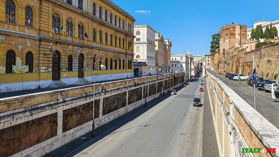 Улица Via degli Annibaldi ведущая к Колизею