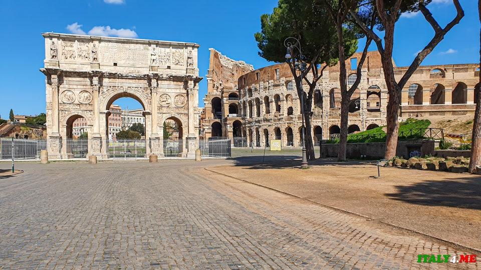 Арка Константина в Риме, город закрыт на карантин