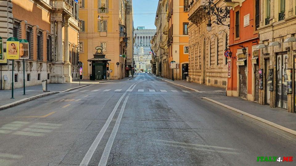 проспект Via del Corso в Риме во время карантина 2020 года