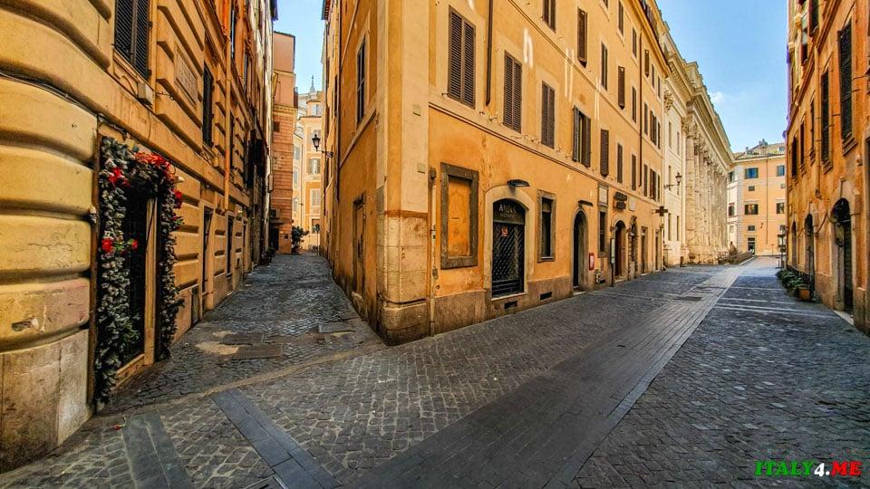 Улица Via di Pietra самый короткий путь от фонтана Треви до Пантеона