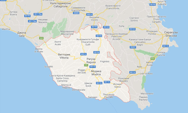 Свободный муниципальный консорциум Рагуза на карте Сицилии