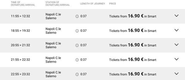 Расписание автобусов из Неаполя до Салерно