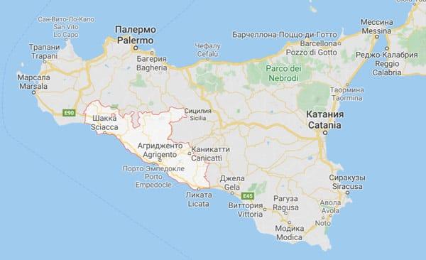 Карта провинции Агридженто, Сицилия