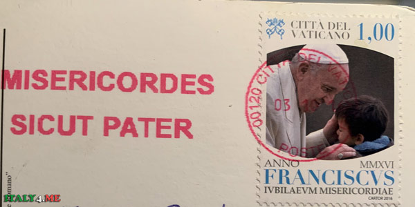 Почтовая марка с печатью Ватикана