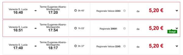 Расписание поездов из Венеции до Абано Терме