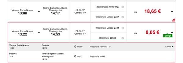 Расписание поездов из Вероны до курорта Абано Терме