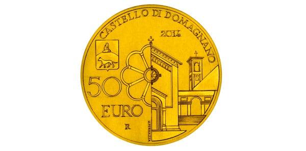 Храм Святого Архангела Михаила на монете 50 евро 2014 года Сан-Марино