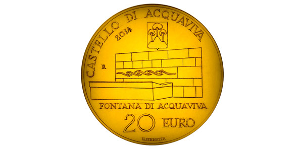 замок Аккуавива на монете 20 евро 2014 года Сан-Марино