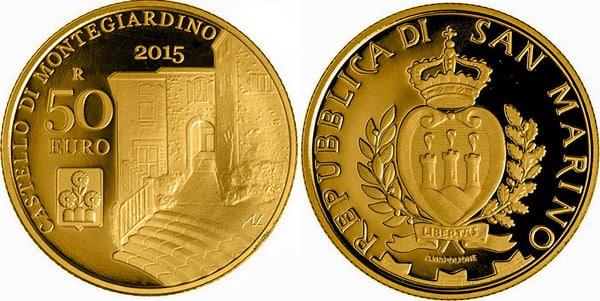 Замок Монте-Джардино (Montegiardino) на монете номиналом 50 евро 2015 года Сан-Марино