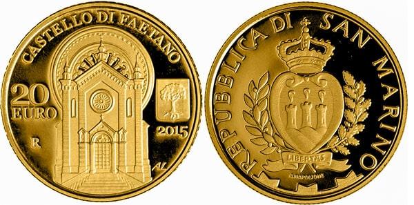 Церковь Святого апостола Павла на монете 20 евро 2015 года Сан-Марино