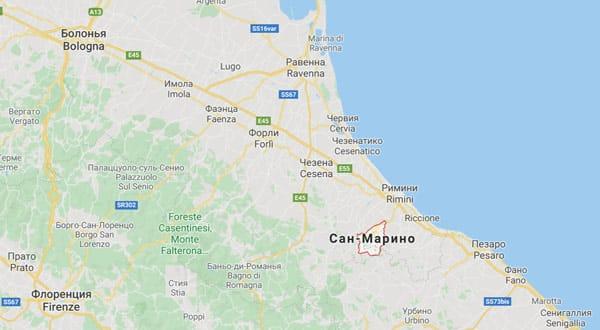 Сан Марино на карте Италии