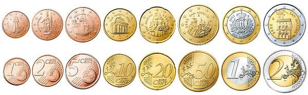 Достопримечательности Сан-Марино на монетах евро