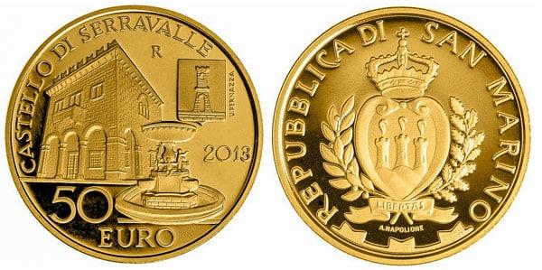 Замок Серравалле на монете номиналом 50 евро 2013 года Сан-Марино