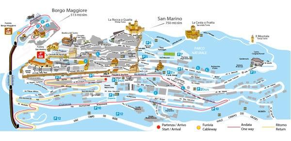 Маршрут туристического поезда в Сан-Марино