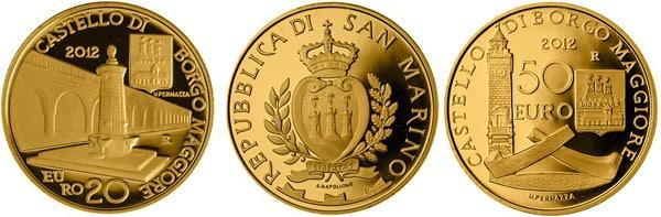 Монеты номиналом 20 и 50 евро 2012 с достопримечательностями Сан-Марино замок Борго-Маджоре