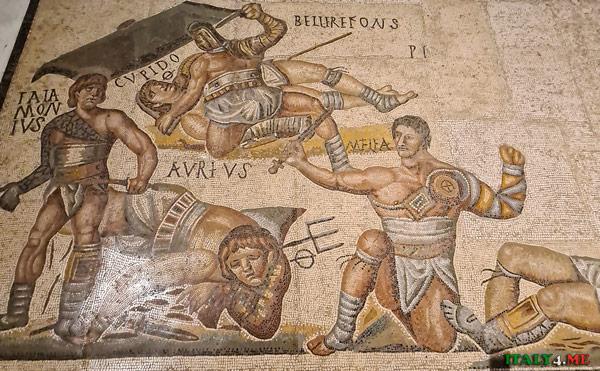 Изображения первых гладиаторских боёв на античных римских мозаиках