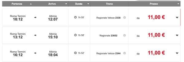 Расписание поездов из Рима до Альбинии