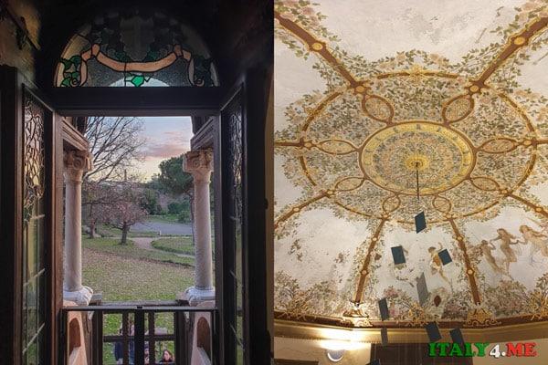 Интерьер дома сов на вилла Торлония в Риме