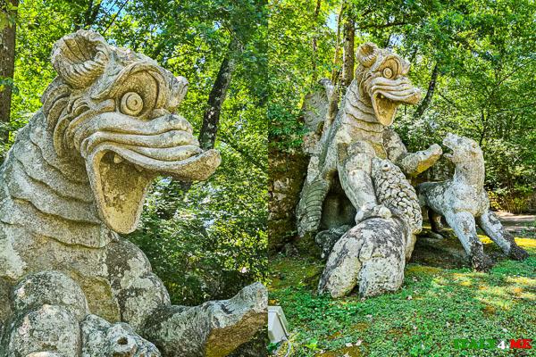 Дракон сражающийся с собакой и львом в парке Монстров Бомарцо