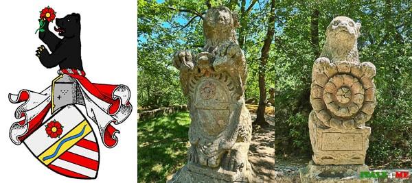 Статуи медведей в Парке Монстров с изображением герба семьи Орсини