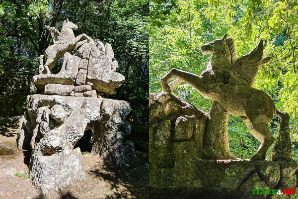Фонтан Пегаса в парке Монстров Бомарцо