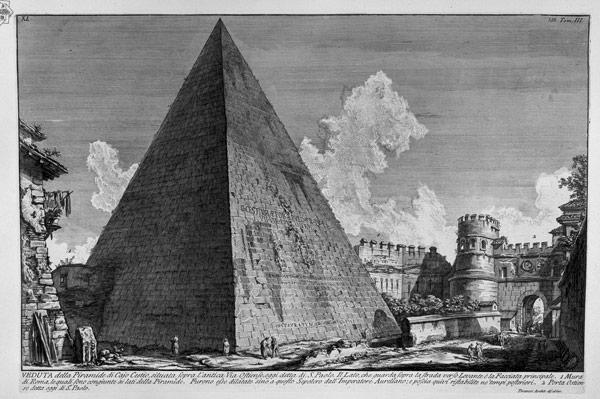 Пирамида Цестия на гравюре Джованни Баттиста Пиранези XVIII век