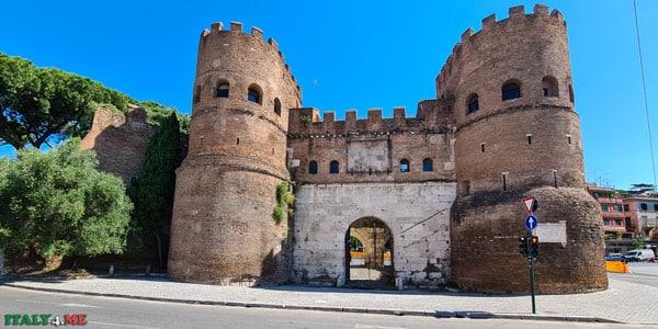 ворота Сан Паоло в Риме часть стены Аврелиана