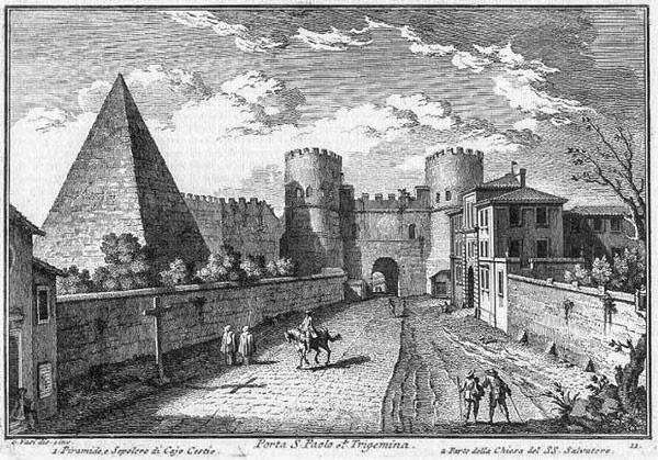 Пирамида Гая Цестия на гравюре Джузеппе Вази