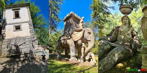 слон Ганнибала и падающий дом в Парке Монстров в Бомарцо