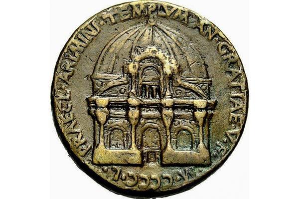 медаль де Пасти 1450 года и изображением храма Малатеста в Римини