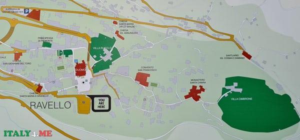 Вилла Чимброне на карте Равелло