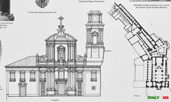План схема аббатства Святой Троицы в Кава де Тиррени
