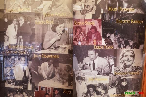 Фотографии звёздных гостей римского ресторана Alfredo alla Scrofa