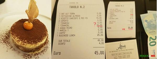 Тирамису и счет за обед в римском ресторане