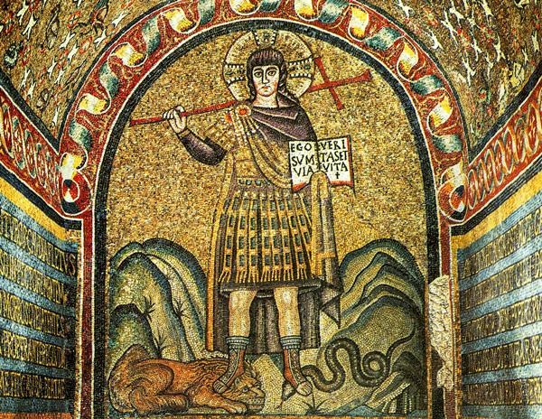 образ Христа-воина на мозаике в Архиепископской капелле в Равенне