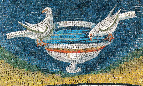 пьющие воду птицы на мозаике в мавзолее Галлы Плацидии Равенна