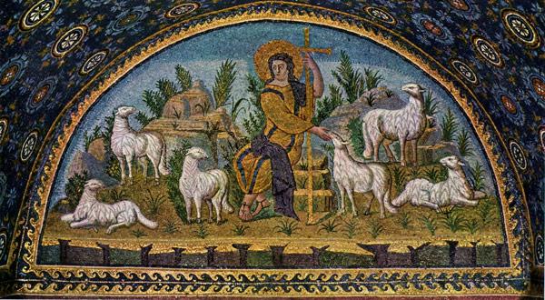 Христос в виде Доброго Пастыря на мозаике в Мавзолее Галлы Плацидии Равенна