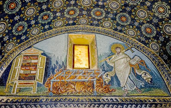 Изображение святого Лаврентия на мозаике в Мавзолее Галлы Плацидии Равенна