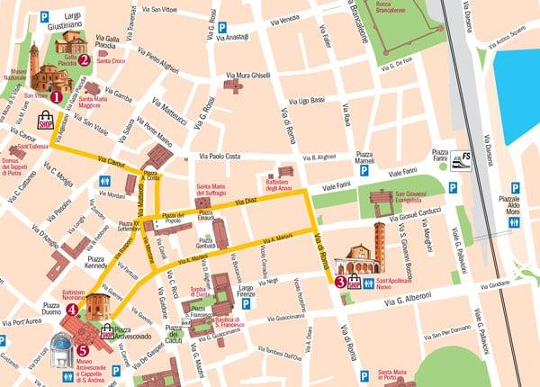 Карта Равенны с расположением мозаик