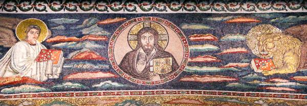 Христос в человеческом облике на мозаике в базилике Сант-Аполлинаре-ин-Классе Равенна