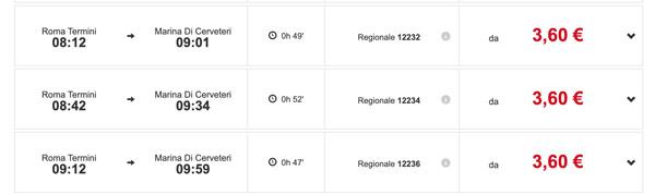 Расписание поездов с вокзала Roma Termini до Marina di Cerveteri