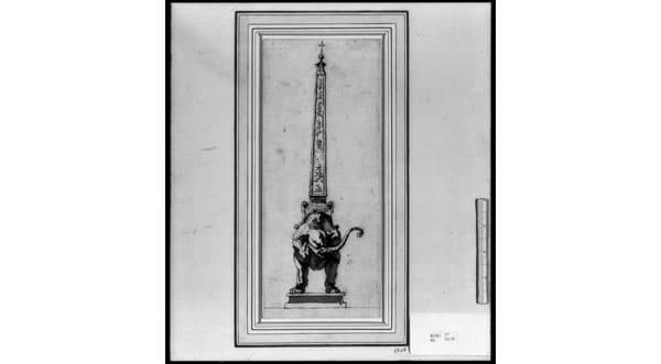 Слон и обелиск эскиз Бернини 1630 год