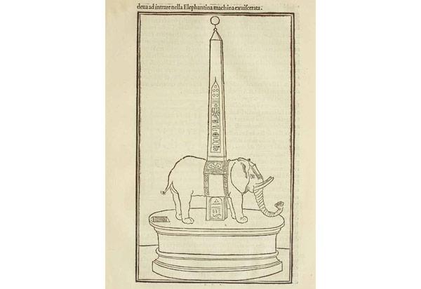 рисунок слона и обелиска в романе Гипнэротомахия Полифила 1499 год