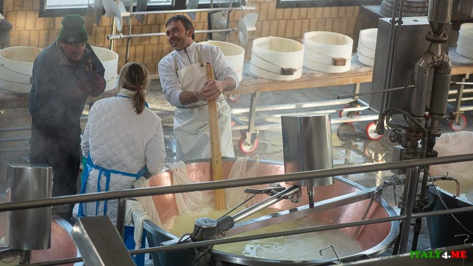 Сыровар помещает головку Пармезана в канопляную ткань с помощью деревянной лопаты