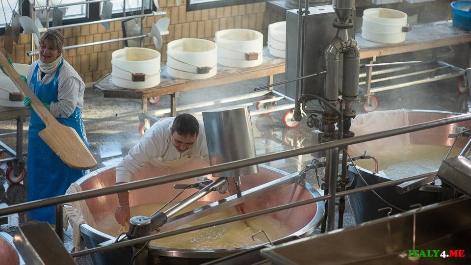 Итальянские сыровары на производстве сыра Пармиджано Реджано