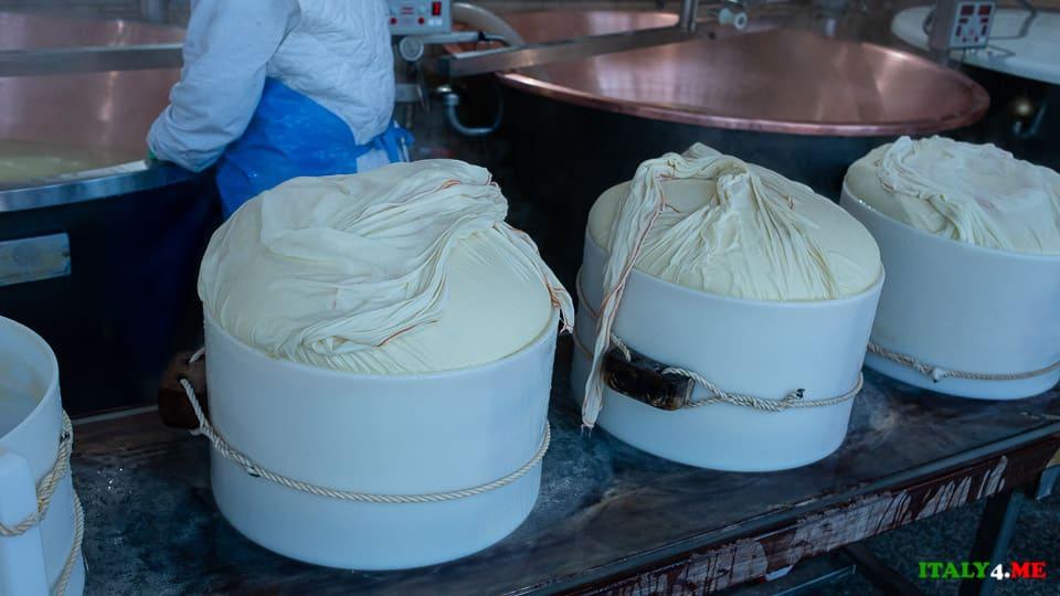 Пармезан в формах по 25 кг на сыроварне в Италии