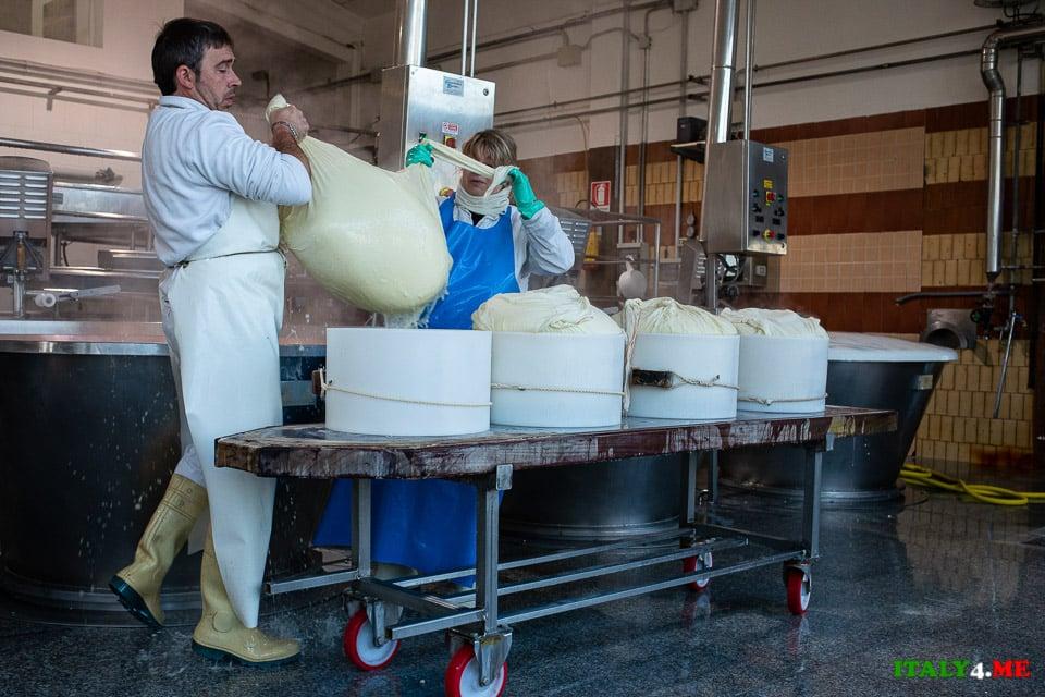 Извлечение сыворотки на производстве Пармезана в Италии