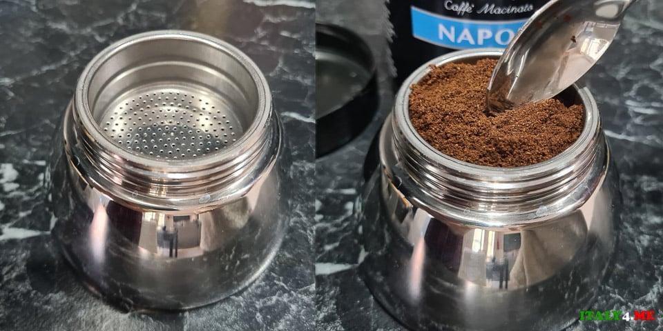Воронка-фильтр в Моке наполненная молотым кофе