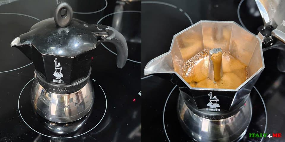 Приготовление кофе в гейзерной кофеварке на индукционной плите