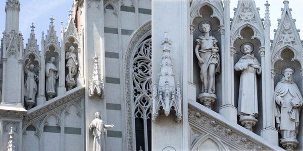Статуи святых на фасаде церкви Святого Сердца Иисуса в Прати